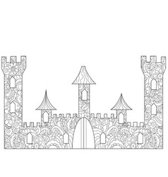 Old castle coloring book for adults vector