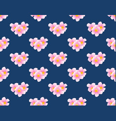 pink trumpet flower seamless on indigo blue vector image vector image