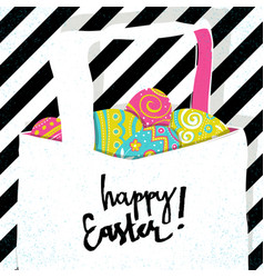 retro greeting card basket with easter eggs vector image vector image