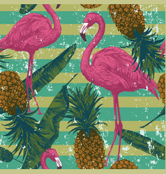 Seamless pattern with flamingo pineapples banana vector