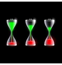 set of batteries in an hourglass vector image