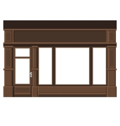 Shopfront with white blank windows wood store vector