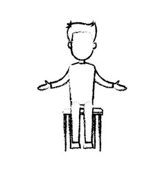 Sketch business man cartoon standing in front of vector