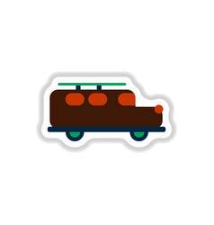 Stylish icon in paper sticker style car vector