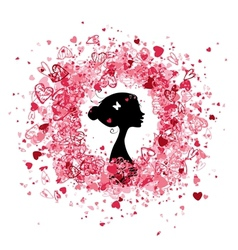 Valentine frame design with woman silhouette vector image