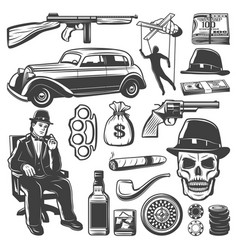 Vintage gangster elements collection vector