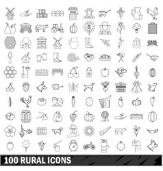 100 rural icons set outline style vector image vector image