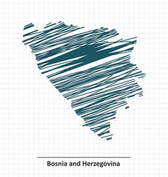Doodle sketch of bosnia and herzegovina map vector