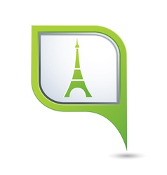 Map pointer with eiffel tower icon vector