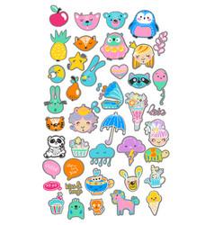 Collection of children doodles vector