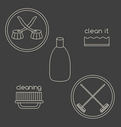 Logo set made of household cleaning objects vector