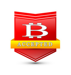 Bitcoin cryptocurrency red shield emblem vector