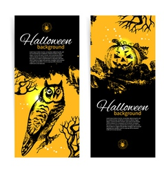 Set of Halloween banners Hand drawn vector image