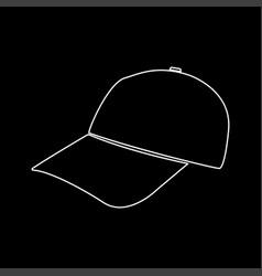 Baseball cap white color path icon vector