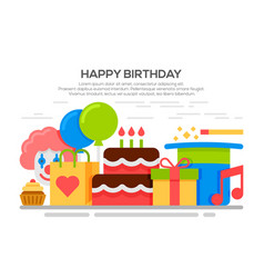Flat happy birthday festive concept vector