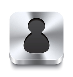 Square metal button perspektive - user icon vector