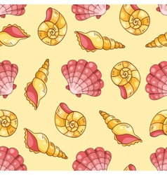 Cockleshells seamless pattern yellow vector