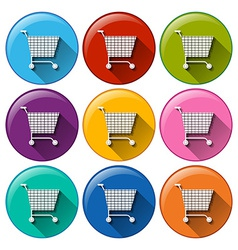 Round buttons with grocery shopping carts vector