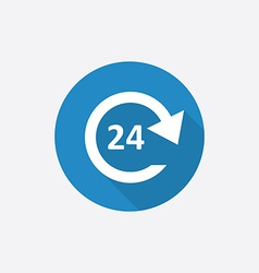 24 hours service flat blue simple icon with long vector
