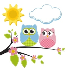 Two owls on the branch vector