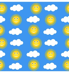 Seamless pattern with suns and clouds vector