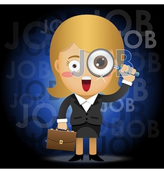 Business woman with magnifying glass searching job vector