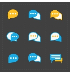 Colorful speech bubble icons on black background vector