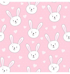 Cute seamless pattern with rabbit in childish styl vector