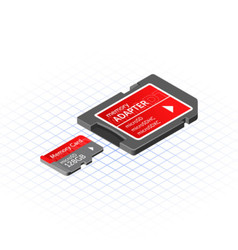 Isometric memory micro secure digital with adapter vector