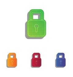 Lock sign  colorfull applique icons vector