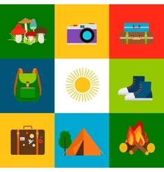Summer travel and tourism icons vector
