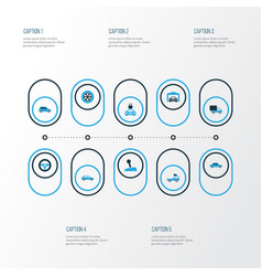 Auto colorful icons set collection of station vector