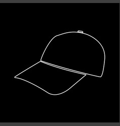 Baseball cap white color path icon vector