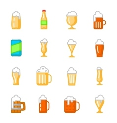 Beer glassware flat icons vector
