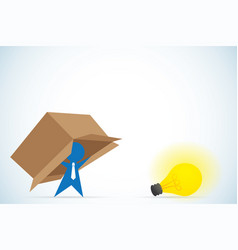 businessman think outside the box idea and vector image