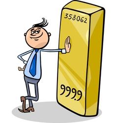 businessman with gold bar cartoon vector image vector image