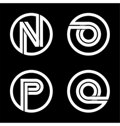 Capital letters n o p q double white stripe vector