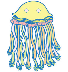 cartoon jellyfish in pastel tumblr colors vector image