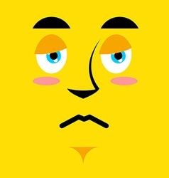 Cartoon sad face on yellow background Sadness vector image
