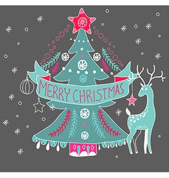Christmas background with cute decorations and vector image