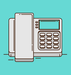 cordless phone flat icon flat icon of phone with vector image vector image