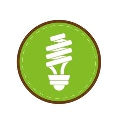 Energy saving lamp light bulb green circle vector