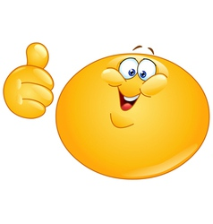 fat emoticon with thumb up vector image vector image