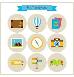 Flat Travel and Vacation Icons Set vector image vector image