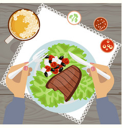 grilled steak and glass of beer vector image vector image