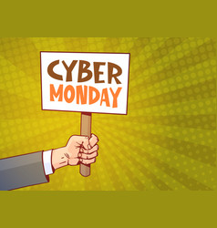 hand holding banner with text cyber monday over vector image