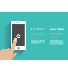 Hand touching smartphone with play button on the vector image vector image