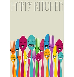 Happy color cutlery vector