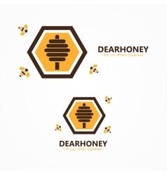 Honey and bee logo vector