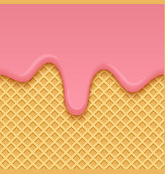 ice cream melted on yellow seamless wafer texture vector image vector image